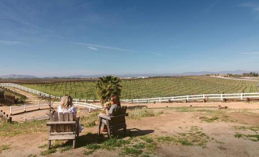 Bianca Jade and a friend sitting on Villa Del Vino Ranch looking out at vineyards.