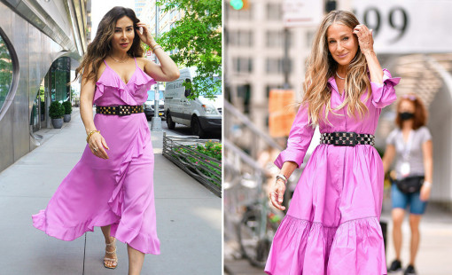Bianca Jade and Sarah Jessica Parker side by side wearing similar lilac purple colored ruffled dresses.