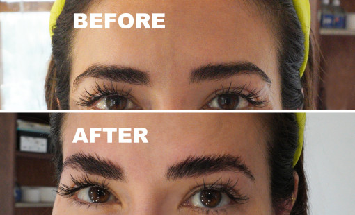 Before and After photos of Eyebrow Lamination Treatment.